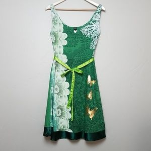 Desigual Green and Gold Cotton Aline Dress size M